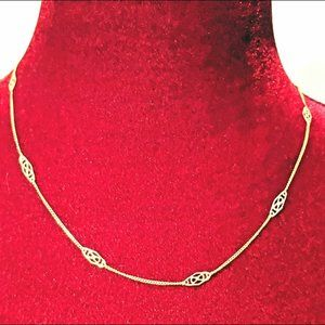 Dainty 14K Gold Chain with Filigree Stations - 18""